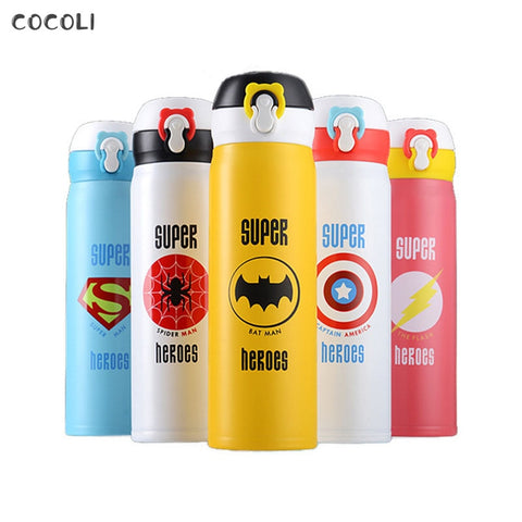 Thermos 304 Stainless Steel Super Hero Bottle Copo Termico Batman Termos Super Spider Man Water Cup for Young Children Gift Mugs