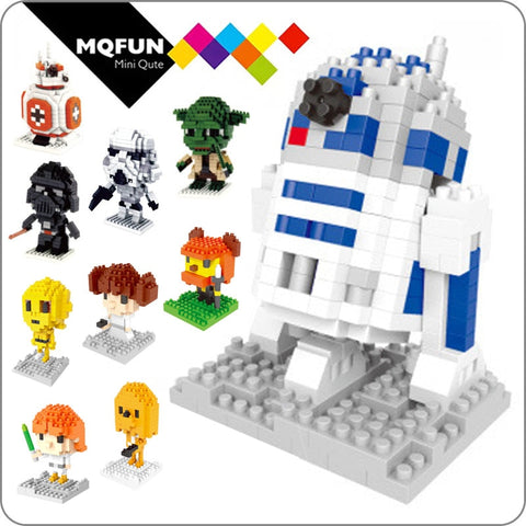 LNO Blocks American Anime Yoda Darth Vader Action Figures DIY Model Building Bricks Stormtrooper 3D Micro Toys For Boys Kids