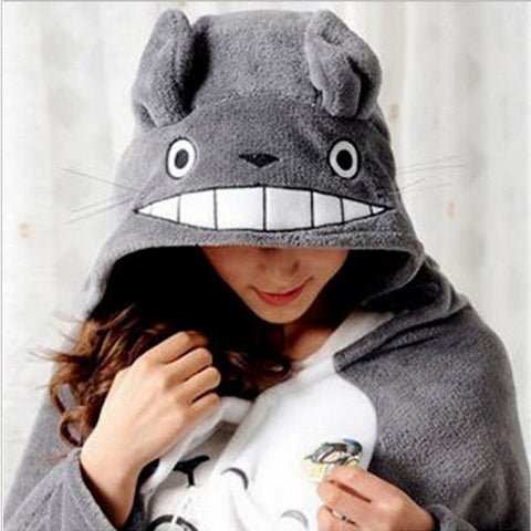 Totoro Lovely Plush Soft Cloak Totoro Cape Cloak Coral Fleece Air Blankets