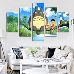 5 Panel Modern Miyazaki Hayao Totoro Art HD Print Modular Wall Painting Poster Picture For Kids Room Cartoon Wall Cuadros Decor
