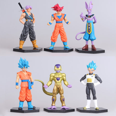 6pcs/lot figurines Dragon ball z action figures dragonball super trunks goku blue super saiyan god vegeta Beerus Frieza