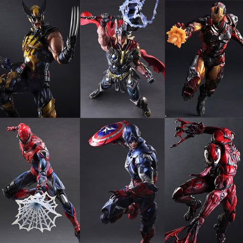 Iron Man Spiderman Venom Captain America Deadpool 27cm PVC Action Figure