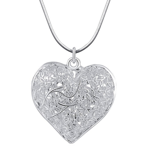 Jewellery Charm Silver Plated Pendant Heart Hollow Necklace Elegant Retro