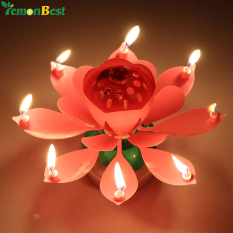 Romantic Musical Lotus Flower Happy Birthday Candle Party Gift Music Cake 8 Candles Topper