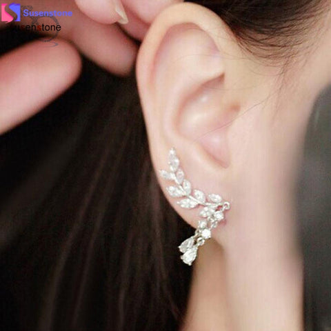 SUSENSTONE Women Gold Silver Crystal Zircon Leaves Tassel Ear Stud Earrings Jewelry