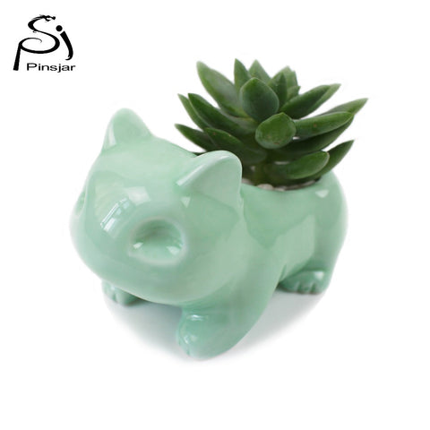 Pokemon Kawaii Ceramic Flowerpot Bulbasaur Succulent Planter Cute White / Green Plants Flower Pot with Hole Cute Dropshipping