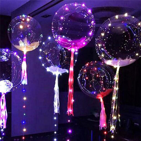 1pcs 18 Inch Transparent Bubble Balloon Glowing Light PVC Decorative Ball For Indoor Bar KTV Party Decorative Balloons