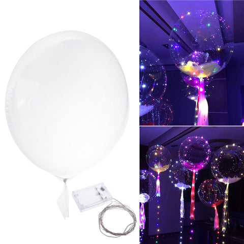 3 Meters LED Colorful Fairy Lights Light Up Balloon Helium Air Inflatable Ballon Transparent Glow Balloon Party Birthday Wedding Light Decor