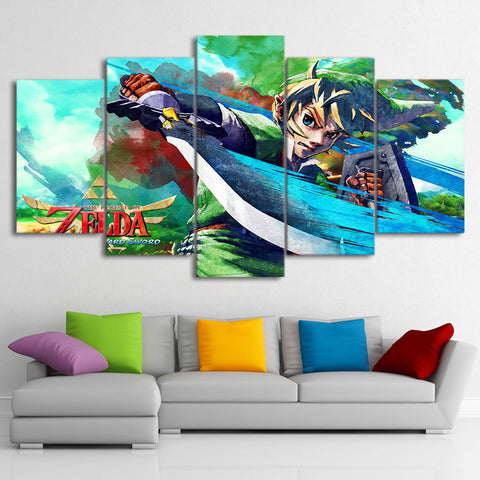 Modern Canvas Wall Art Poster HD Printed For Living Room Home Decor 5 Pieces Legend Of Zelda Painting Anime Game Pictures PENGDA