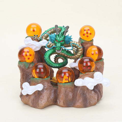 Anime Dragon Ball 7 Stars Crystal Balls with Shelf Shenron Figure Set DBZ Dragonball