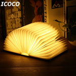 ICOCO Portable USB Rechargeable LED Magnetic Foldable Wooden Book Lamp Night Light Desk Lamp Hot Sale for Home Decor