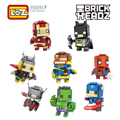 LOZ Mini Super Hero Blocks Batman Captain America Thor Iron Brick Heads Action Figure Blocks Toys