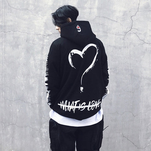 Hip Hop Hoodies Men Women Loving Heart Print