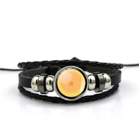 Black Leather Bracelet Dragon Ball Glass Cabochon Multilayer Bracelet Dragon Ball Anime Lovers Gift Handmade Fashion Jewelry
