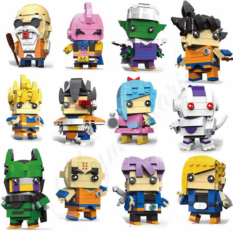 12pcs/lot  Mini Dragon Ball DIY Building Blocks Son Goku Trunks Bulma Cell Piccolo Majin Buu Krilin Action Figure Brickheadz