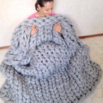 Giant Yarn Knitted Blanket