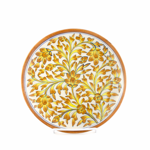 BLUE POTTERY CERAMIC YELLOW PLATE - Captivating Illustrations