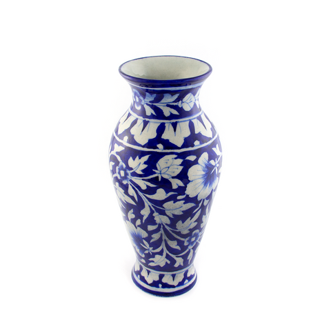 BLUE POTTERY CERAMIC HOME DECOR VASE - Pine Lane Designs
