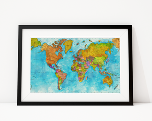 World Map In Watercolours Art Print Decor - Pine Lane Designs