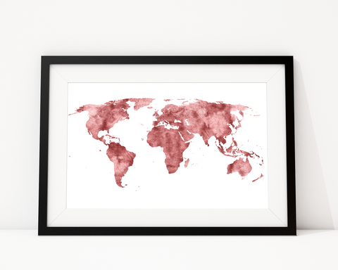 World Map In Rose Gold Art Print Decor - Pine Lane Designs