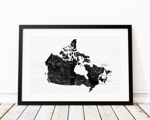 Vintage Watercolour Map Of Canada Art Print Decor - Pine Lane Designs