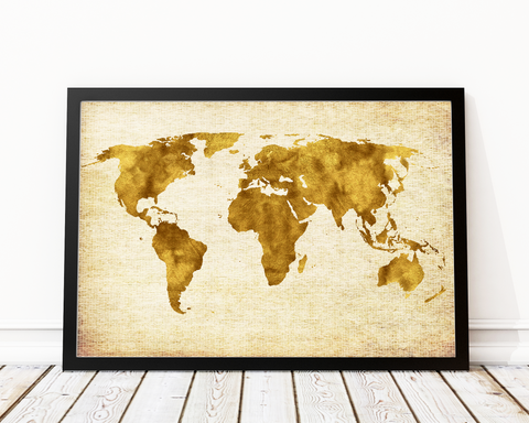 WORLD MAP ART PRINT DECOR IN GOLD - Pine Lane Designs