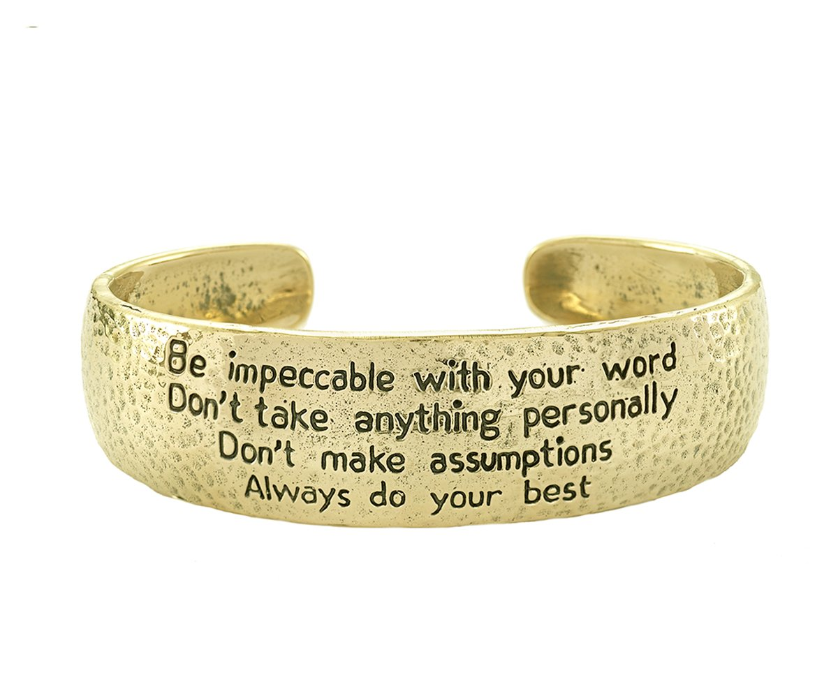 New The Four Agreements Dome Cuff In Brass Jewelry Evolution