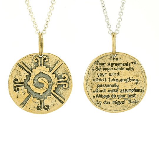 The Four Agreements Hunab-Ku Galactic Butterfly Medallion Necklace in Bronze | Inspired Jewelry | Handcrafted | Jewelry Evolution8 | Made in Bali