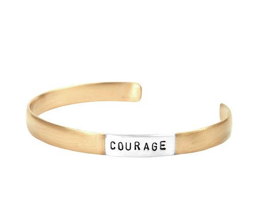 Courage Wide Matte Cuff Bracelet in Bronze and 925 Sterling Silver | Jewelry Evolution | Inspirational Handcrafted Jewelry | Made in Bali