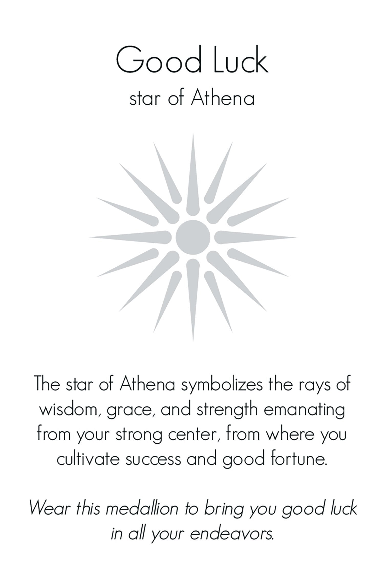 Good Luck | Small Athena's Star Journey Talisman in Bronze