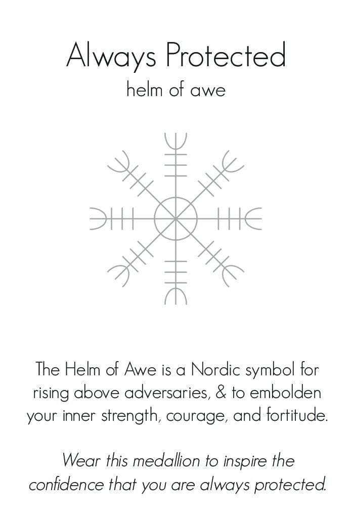Helm of Awe | Always Protected Small Journey Talisman Pendant Necklace in Bronze on Sterling Silver Chain-Wearable Wisdom-Jewelry Evolution8-Handcrafted Jewelry