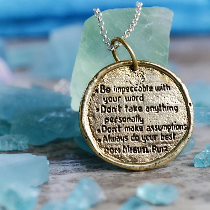 The Four Agreements Medallion Necklace in Brass | Inspired Jewelry | Handcrafted | Jewelry Evolution | Made in Bali