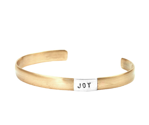 Joy Wide Matte Cuff Bracelet in Bronze and 925 Sterling Silver | Jewelry Evolution | Inspirational Handcrafted Jewelry | Made in Bali