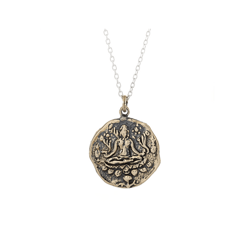 Lakshmi Prosperity and Abundance Small Journey Talisman Pendant Necklace in Bronze on Sterling Silver Chain-Wearable Wisdom-Jewelry Evolution8-Handcrafted Jewelry