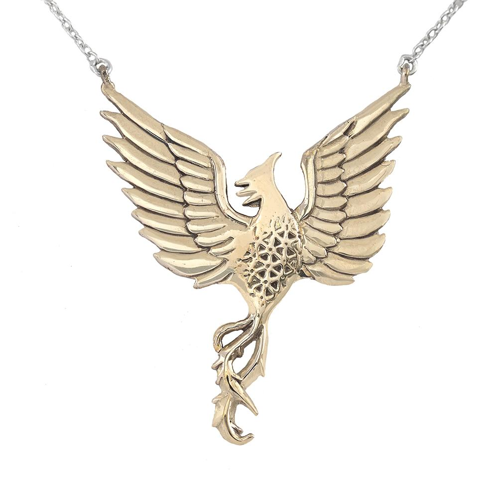 Large Phoenix Necklace in Bronze | Rise Strong | Jewelry Evolution8 | Nea Hildebolt Jewelry Design