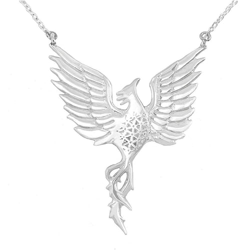 Rise Strong Large Phoenix Necklace in Sterling Silver