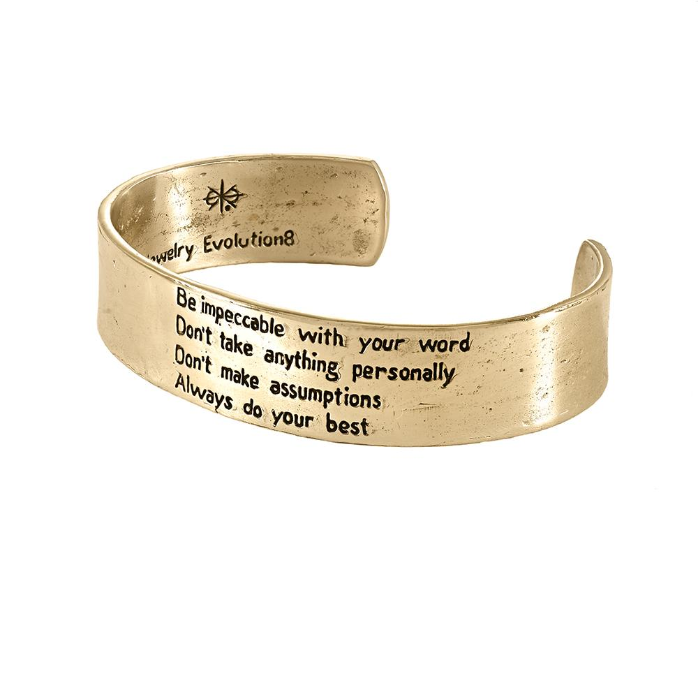 The Four Agreements Cuff Bracelet in Bronze | Handcrafted | Inspirational Jewelry | Jewelry Evolution8 | Made in Bali