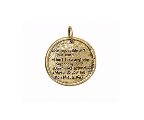 The Four Agreements Medallion Necklace in Bronze on Silver Chain