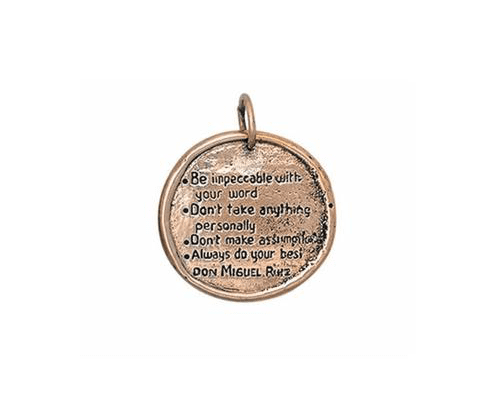 The Four Agreements Medallion Necklace in Bronze | Inspired Jewelry | Handcrafted | Jewelry Evolution8 | Made in Bali