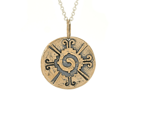 The Four Agreements Medallion Necklace in Brass on Silver Chain