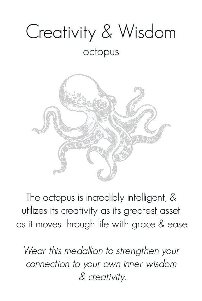 Octopus Creativity and Wisdom Small Journey Talisman Pendant Necklace in Bronze on Sterling Silver Chain-Wearable Wisdom-Jewelry Evolution8-Handcrafted Jewelry