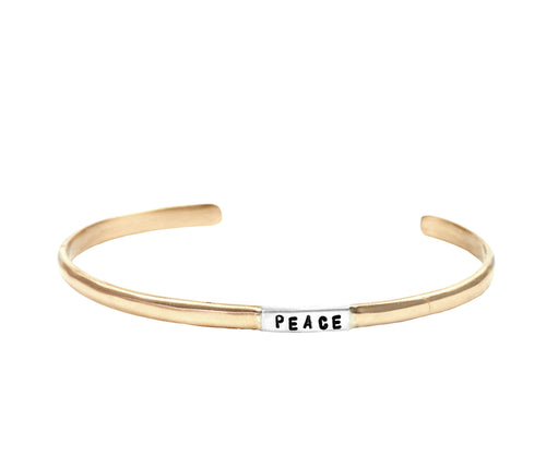 Peace Narrow Cuff Bracelet in Bronze and 925 Sterling Silver | Jewelry Evolution | Inspirational Handcrafted Jewelry | Made in Bali