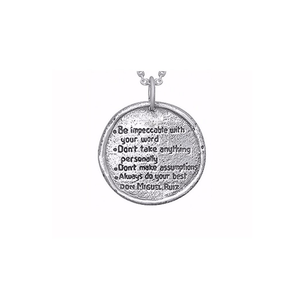 The Four Agreements Medallion Necklace in Sterling Silver | Inspired Jewelry | Handcrafted | Jewelry Evolution8 | Made in Bali