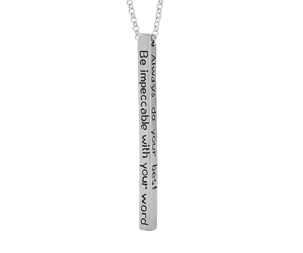 The Four Agreements Bar Necklace in Sterling Silver | Inspired Jewelry | Handcrafted | Jewelry Evolution8 | Made in Bali