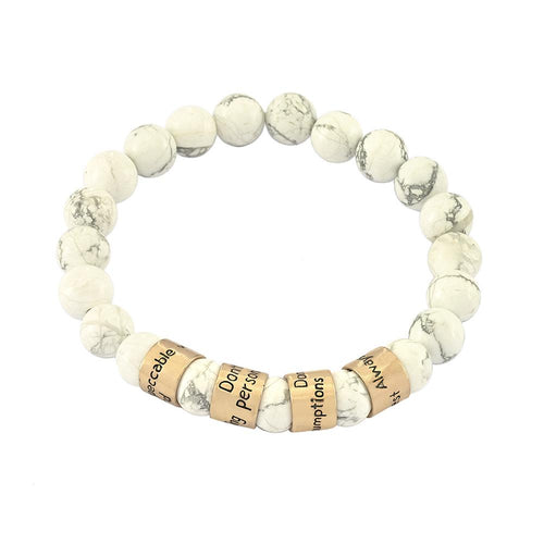 The Four Agreements Beaded Howlite Bracelet in Brass | The Four Agreements | don Miguel Ruiz | Jewelry Evolution8