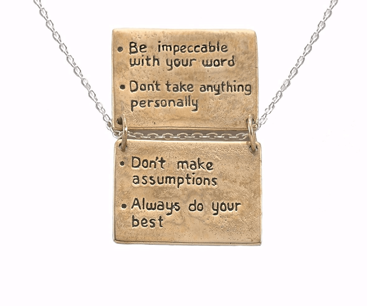 The Four Agreements Book Necklace in Bronze and Sterling Silver | Inspired Jewelry | Handcrafted | Jewelry Evolution | Made in Bali