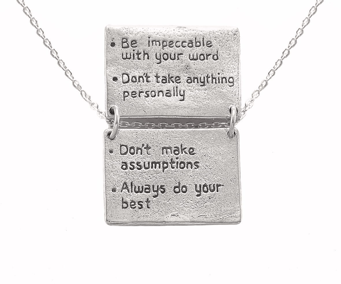 The Four Agreements Book Necklace in Sterling Silver | Inspired Jewelry | Handcrafted | Jewelry Evolution | Made in Bali