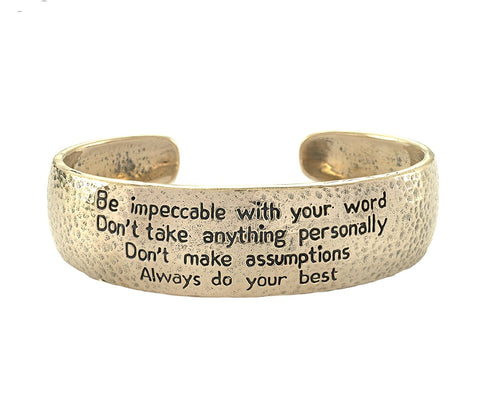 The Four Agreements Beaded Howlite Bracelet in Brass