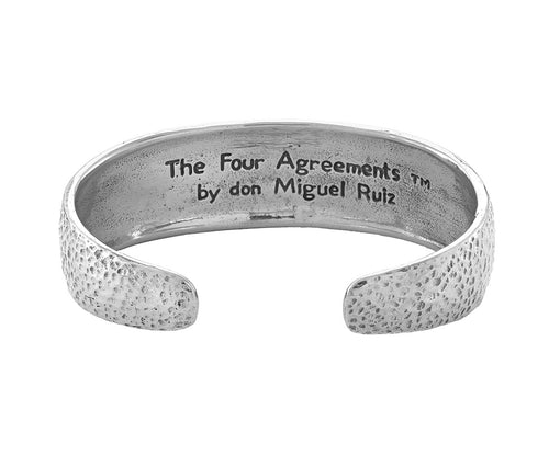 The Four Agreements Dome Cuff in Sterling Silver_in collaboration with don Miguel Ruiz_Inspirational Jewelry_Jewelry Evolution8
