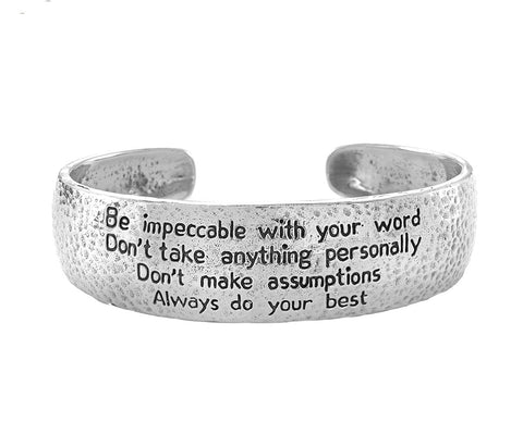 The Four Agreements Cuff in Bronze